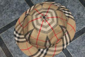 vintage Unisex original BURBERRY Nova Check Hat Beige bucket size 7 / 57