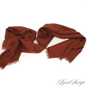 #1 MENSWEAR Loro Piana Made in Italy 70/30 Cashmere Silk Cinnamon Rust Scarf NR