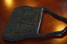 "Vintage Japan Beaded Hand Bag Clutch Black 8"" x 4.25"" Strap Evening Unused Vgc"