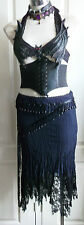 River Island.lush Gothic midnight blue and black lace cobweb skirt GOTH size 8