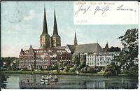 Ansichtskarte Lübeck - Dom mit Museum - gelaufen 1913 - sehr alt - coloriert