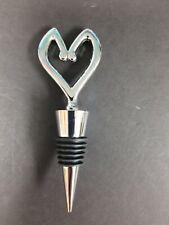 Bottle stopper. Heart shaped. Stainless Steel with felt case