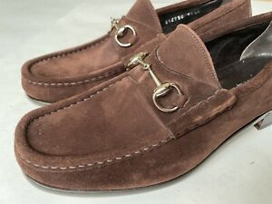 GUCCI Classic TOM FORD era Silver Horsebit Brown Suede Loafers Size US 10.5 $650