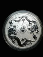 2019 Australia 1 oz .9999 Fine Silver Double Dragon Coin In Mint Capsule