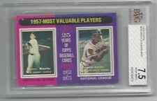 Mickey Mantle / Hank Aaron 1975 Topps1957's  MVP Card, # 195, BVG NMT + 7.5,