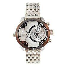 Dual Time Silver Watch Metal Mens Geneva Fashion Designer Large Stylish