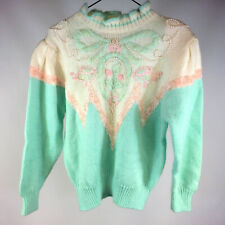 Vintage 70s 80s Shaby Chic Lace Acrylic Knit Sweater Shirt Jacket Pastel Pink L