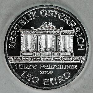 2009 UNCIRCULATED AUSTRIAN PHILHARMONIC, 1oz 0.999 FINE SILVER