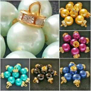10mm Hanging Charm Round Ball Pearl Crystal Diamante Fancy Handmade Button Beads
