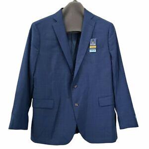 NEW Stafford Big & Tall 52 R  Mens Sport Coat Comfort Stretch Plaid Blue