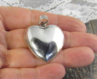 Taxco Solid Sterling Silver Heart Necklace Pendant 925 Mexico TP-38 Mark 11.4g