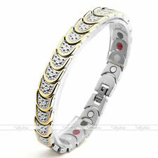 4 in 1 Gold Silver Steel Magnetic Energy Germanium Therapy Health Power Bracelet