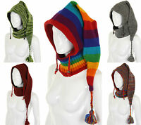 Pixie Hood Woolen Snood Fleece Lined Hat Boho Festival Hippie Nepal Elf Pointy