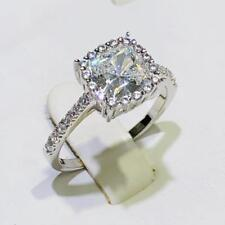 Platinum Sterling Silver White Sapphire Cushion Cut Halo Pave Promise Ring Sz6