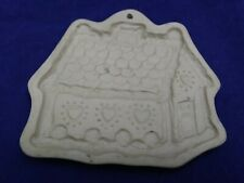 Vintage Brown Bag Cookie Art Mold 1985 Gingerbread House Stoneware Christmas