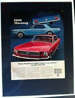 "1966 Ford Mustang fstbk/htp/cv/289 V8 *Original*car ad print ""Ready to Display"""