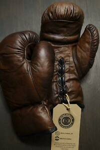 Retro Reborn vintage Dark Brown leather boxing gloves