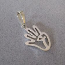 925 Sterling Silver Four Finger Salut Sign Double Peace Rabaa Rabia Pendant