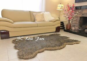 """58 x 36""""  Black Tip Gray Coyote Plush Fur Rugs Bearskin Home Accents"""