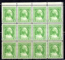 #705 Green Washington 1932 MNH Block of 12, Perfect Gum