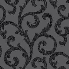 Arthouse Glitterati Scroll Damask Wallpaper Embossed Glitter Leaf Motif 892400
