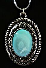 "NWT 30"" Silver Tone Necklace - Aqua Coral in Oval Antique Pendant"