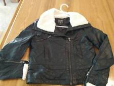 Love Culture Womens Jacket  Sz Small Faux Leather dark Hardware faux fur collar