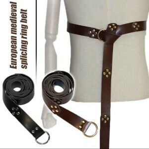 Retro Knight Ring Belt Medieval Celtic Belt with Metal Ring Cosplay Stage Props