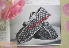 Vintage Knitting Pattern Lady's Bedroom Slippers & Ruffle Top Bedsocks NO UK P&P