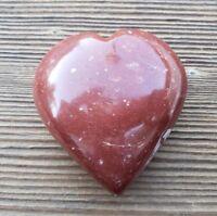 LARGE NATURAL RED JASPER STONE GEMSTONE PUFFY HEART 60-70mm