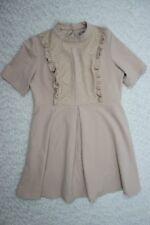ASOS dusty blush pink lace bib short sleeve A-line dress size 18