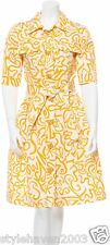 Yellow/White Light-Wool Belted Trench Coat-Dress @ OSCAR de la RENTA Sz.6