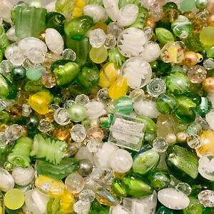 Mixed Glass Bead Packs - 2 Sizes Available - Green, Yellow & Clear Mix