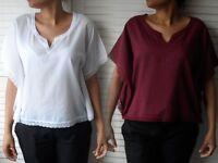 NEW WOMAN'S LADIES LIGHT CASUAL 100% COTTON TOP BLOUSE 2 COLOURS WHITE & PLUM