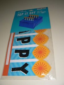 Hallmark Happy Birthday Top It Off Pop Up Box Topper Wrapping Blue Black Orange