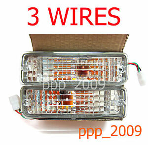 3 Wires Clear Lens Front Bumper Signal Lights For Toyota Hilux Pickup 1989-1995
