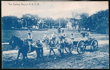 ANTIQUE MILITARY POSTCARD Battery Mascot N G S M Horses Pulling Wagon With Goat