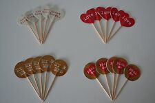 20 WEDDING ENGAGEMENT COCKTAIL STICKS - CUPCAKE FOOD FLAG RETRO PARTY