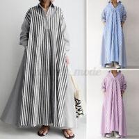 UK Women Long Sleeve Stripe Patchwork Casual Loose Kaftan Baggy Maxi Shirt Dress