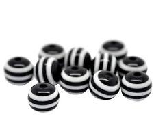 ❤ 50 x Resin BLACK & WHITE Stripe 8mm Round SPACER Beads Jewellery Making UK ❤