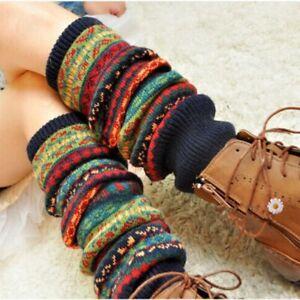 Women's Boho Winter Warm Leg Warmers Cable Knit Knitted Crochet High Long Socks