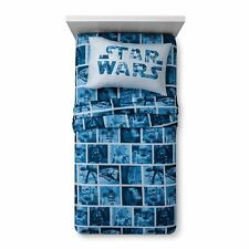 New Disney STAR WARS Full Sheet Set ~ Star Wars Characters ~ Blue/White NIP
