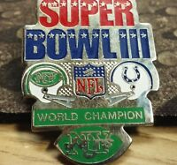 NFL Super Bowl 3 lapel pin pre-owned New York Jets and Baltimore Colts