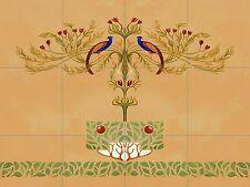 Peacock Tole Mural Kitchen Ceramic Tile Back Splash Ceramic Art Deco Nouveau