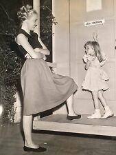 Cute photograph actress Peggy Knudsen in ballerina flats hair up with daughter