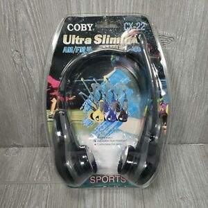 Coby Ultra SlimlineAM/FM Headset Radio CX-22 Black NEW Old Stock *Factory Sealed