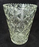 Ancien Vase en cristal taillé denté Hauteur 20cm vintage