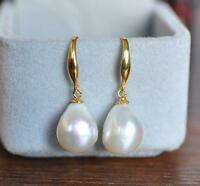 GORGEOUS AAA 12-10mm South Sea White Baroque Pearl Earrings 14K YELLOW GOLD