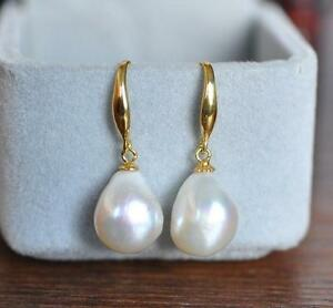 GORGEOUS AAA 12-10mm South Sea White Baroque Pearl Earrings 14K YELLOW GOLD 2020