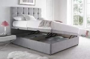 Luxury Plush Velvet Ottoman Divan Bed Frame - Side Lift Storage